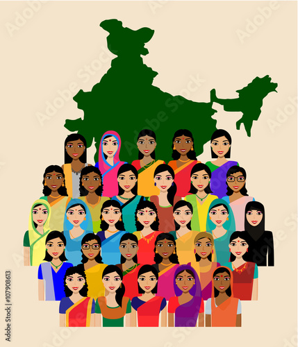 "Crowd Of Indian Women Vector Avatars Stock Vector: ""Big Crowd Of Indian Women Vector Avatars"