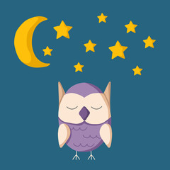 Vector illustration with sleeping owl