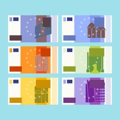 Set of euros banknotes. Cartoon design