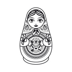 Matryoshka. Russian folk nesting doll. Black and white. Vector illustration on white background