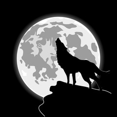 Howling wolf in front of the cartoon moon. Halloween night background. Silhouette of wolf and moonlight