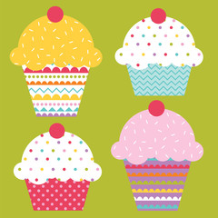 Sweet cupcakes with colorful vector design