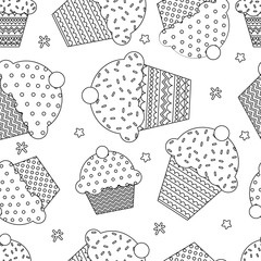 Seamless doodle cupcakes vector background