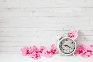 Background with white alarm clock and flowers pink orchid on whi