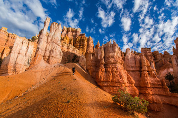 Bryce Canyon scenery, profiled on deep blue sky with clouds