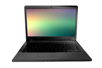 laptop with abstract colorful background on screen