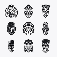 Tribal mask icons. Monochrome ethnic masks vector images on white background