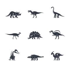 Dino icons set. Dinosaurs black silhouettes on white background. Vector illustration