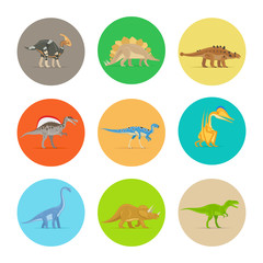 Dinosaurs flat colorful icons. Different types of dinosaurs in colored