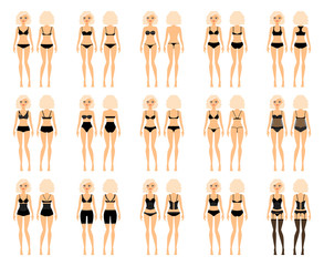 Types of woman underwear. Pretty girl in bra and panties vector illustration