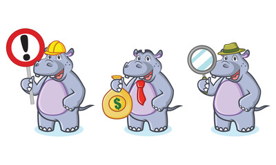 Hippo Mascot Vector with money