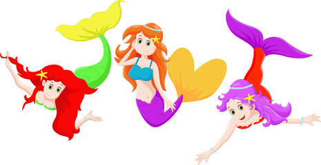 three Beautiful mermaid cartoon