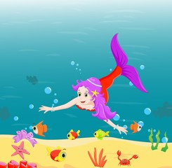 Beautiful mermaid  Swimming Underwater with sea animals