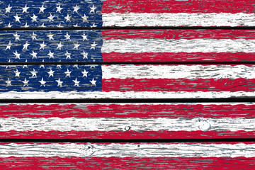 Flag of USA painted on wood texture background