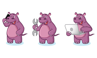 Purple Hippo Mascot Vector with laptop