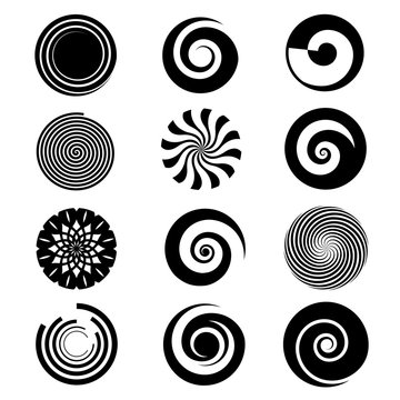 Vector spiral elements. Spiral swirl icon circular, twirl spiral circle, twist curve spiral rotation illustration