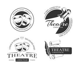 Vintage vector theatre labels, emblems, badges and logo. Classical theatrical mask, spotlight theatre, performance theatre  sign, emblem theatre illustration