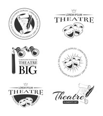 Theater acting entertainment performance vector retro labels, emblems, badges and logo. Emblem logo for theatre, comedy theatre logo, scenario paper theatre performance theatre logotype illustration