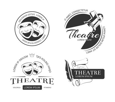 Vintage vector theatre labels, emblems, badges and logo. Classical theatrical mask, spotlight theatre, performance theatre  sign, emblem theatre illustration