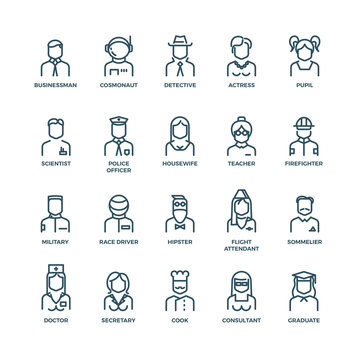People avatars, characters staff, professions. Career people, manager profession, people profession, icon character professions. Vector illustration linear icons