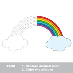 Rainbow to be colored. Vector trace game.