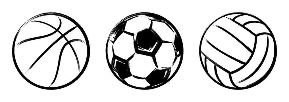 Set sport balls grunge