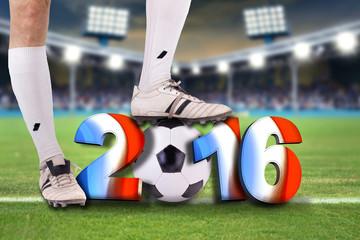 Wall Mural - Fußballspieler im Stadion mit französischen 2016 Symbol