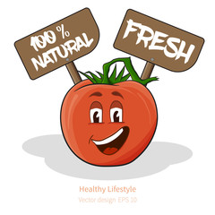 Tomato with cartoon look with face, signs