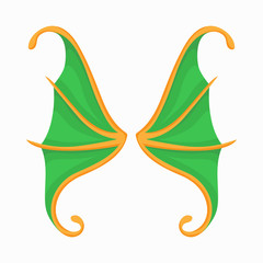 Green butterfly wings icon, cartoon style