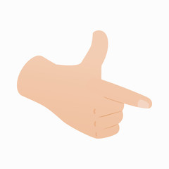 Pointing hand or pistol hand gesture icon