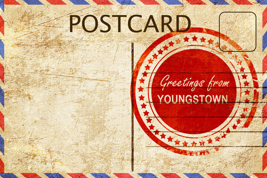 youngstown stamp on a vintage, old postcard