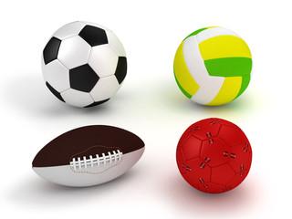 Sports balls set on white background.3D illustration.