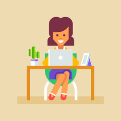 Young business woman or a secretary working at her office table with laptop. Vector illustration in flat style.