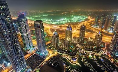Dubai Marina Towers View at night