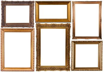 set of gold decorative frames isolated on white
