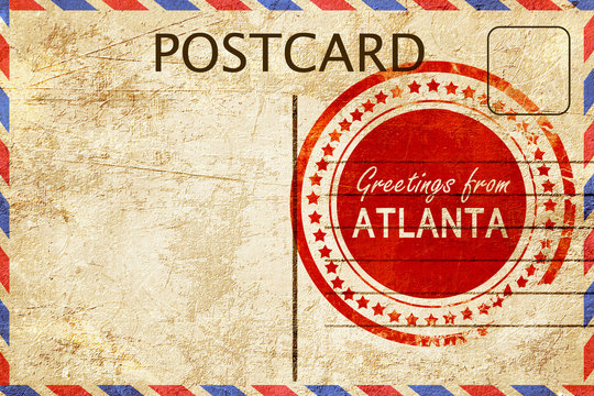atlanta stamp on a vintage, old postcard