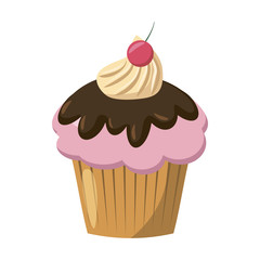 Cherry cupcake icon, cartoon style