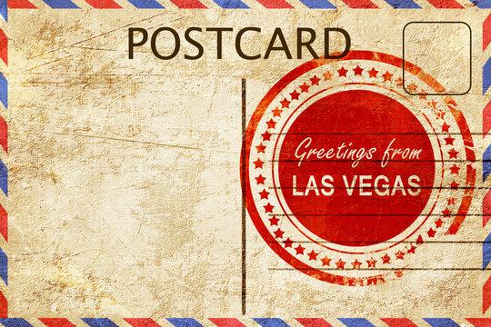 las vegas stamp on a vintage, old postcard