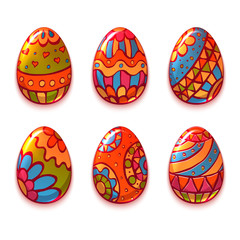 Vector set of cartoon color eggs for Easter.