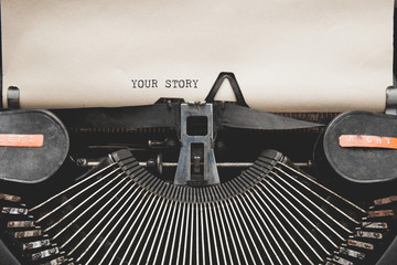 Your Story? question printed on an old typewriter.