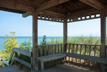 Pavilion on the shore of Lake Michigan, Indiana, USA