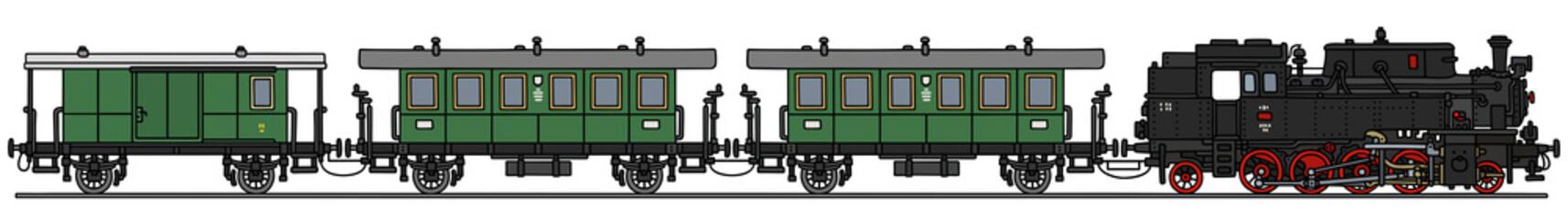 Steam train / Hand drawing, vector illustration