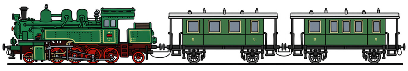 Steam train / Hand drawing, vector illustration