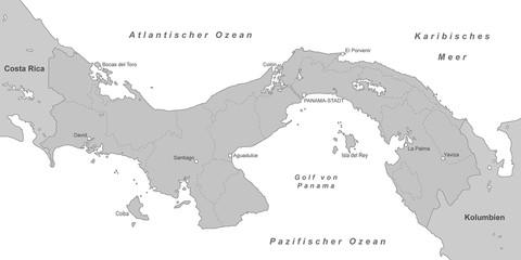 Karte von Panama - Grau (detailliert)