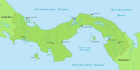 Karte von Panama - Grün (detailliert)