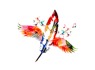 Creative feather design with wings
