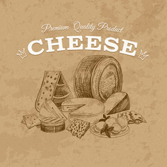 Cheese Vector hand drawn illustration