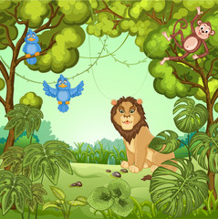 Illustration of a lion at the jungle