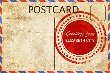 elizabeth city stamp on a vintage, old postcard