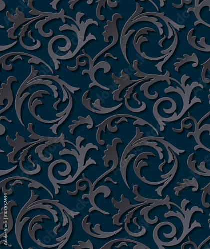 Vector Victorian Seamless Damask Dark Gothic Texture Luxury Floral Swirl Pattern Element For Wrapping Paper